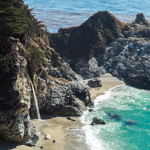 Big Sur Waterfall - California Coast Art Print