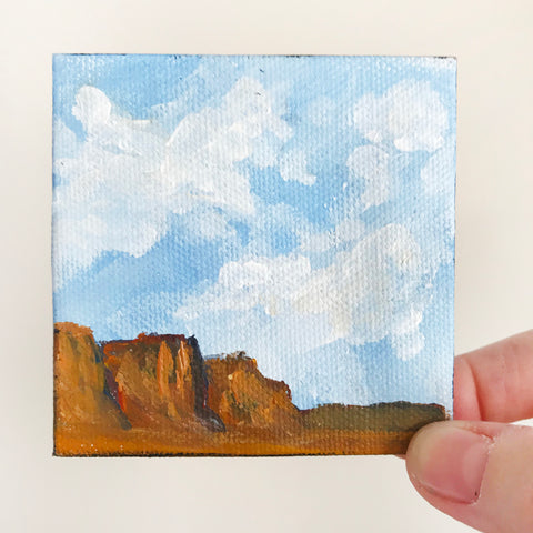Southwest Landscape Original Acrylic Painting - 3x3 Tiny Art