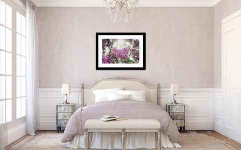 lilac photo in bedroom setting