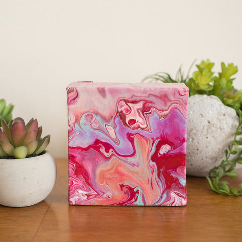 Wild Small Abstract Painting - 4x4 Pink Abstract Art