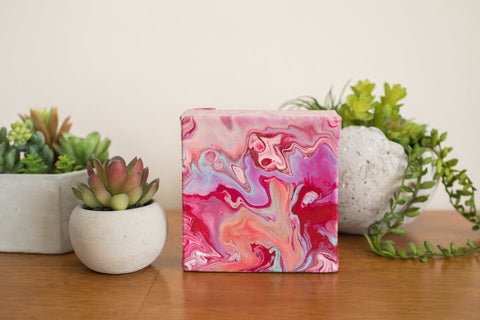 Wild Small Abstract Painting - 4x4 Pink Abstract Art - april bern art & photography