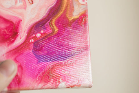 Small Pink Abstract Painting - 4x4 Pink Abstract Art - april bern art & photography