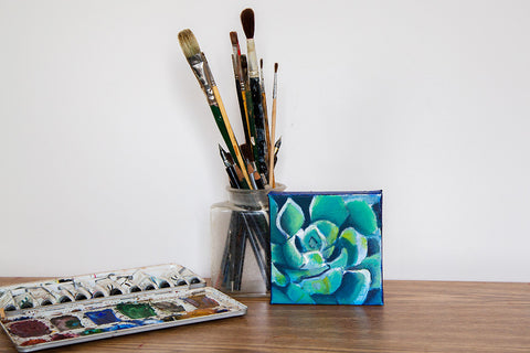 Mini Succulent Original Oil Painting 5x5, Blue Painting, Succulent Painting, Succulent Art, Blue Home Decor, Small Painting, Gifts Under 50
