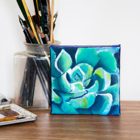 Mini Succulent Oil Painting, Small Succulent Art