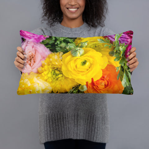 Bold and Bright Ranunculus Decorative Throw Pillow - april bern photography
