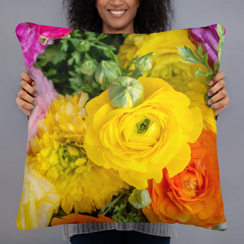 Bold and Bright Ranunculus Decorative Throw Pillow