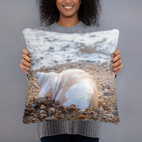 Seashell on the Beach Throw Pillow