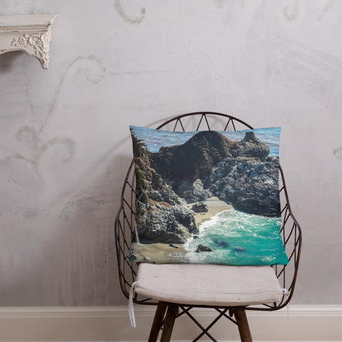 Big Sur Waterfall Decorative Throw Pillow