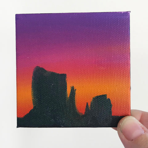 Monument Valley Arizona Landscape Original Oil Painting - 3x3 Tiny Art
