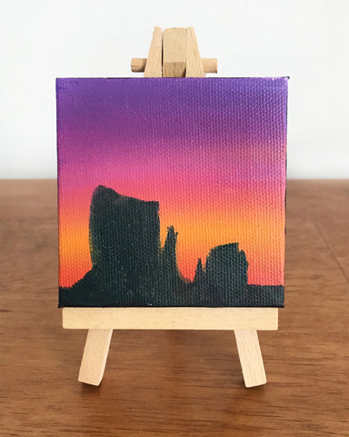 Monument Valley Arizona Landscape Original Oil Painting - 3x3 Tiny Art - april bern photography