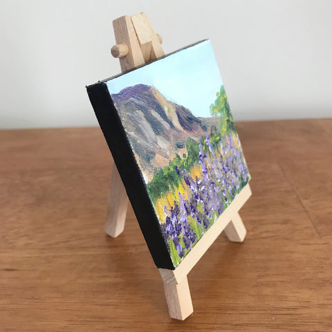 New Mexico Landscape Original Oil Painting - 3x3 Tiny Art - april bern photography
