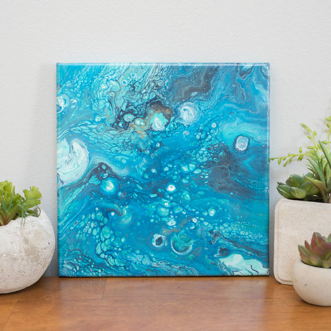 Blue Abstract Art - 10x10 Acrylic Painting