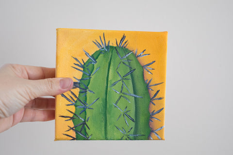 Cactus Art - 6x6 Oil Painting - april bern photography