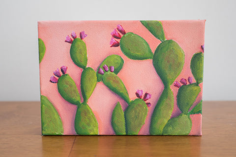 Prickly Pear Cactus Art - 7x5 Oil Painting - april bern photography