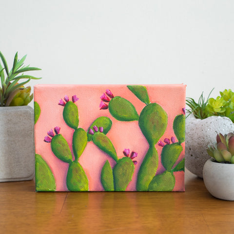 Prickly Pear Cactus Art - 7x5 Oil Painting