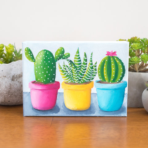 Bright Cactus Trio - 7x5 Oil Painting