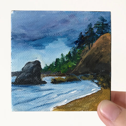 Coastal Landscape Original Acrylic Painting - 3x3 Tiny Art
