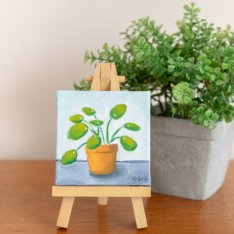 Tiny Pilea Original Oil Painting - 3x3 Original Oil Painting - april bern photography