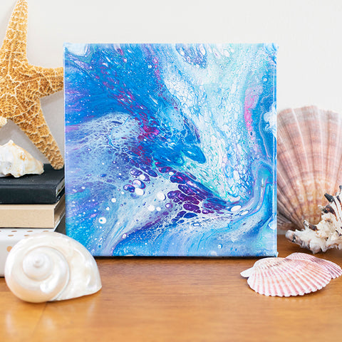 Coastal Waters Abstract Art - 8x8 Acrylic Painting