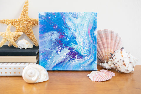Coastal Waters Abstract Art - 8x8 Acrylic Painting - april bern photography