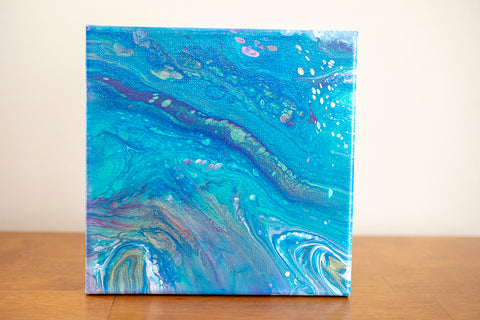 Interstellar Blue Abstract Art - 8x8 Acrylic Painting - april bern photography