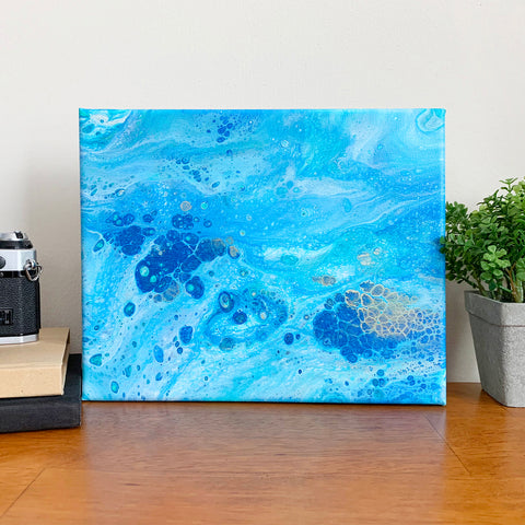 Original Acrylic Pour Painting- 8x10 Blue Ocean Waters