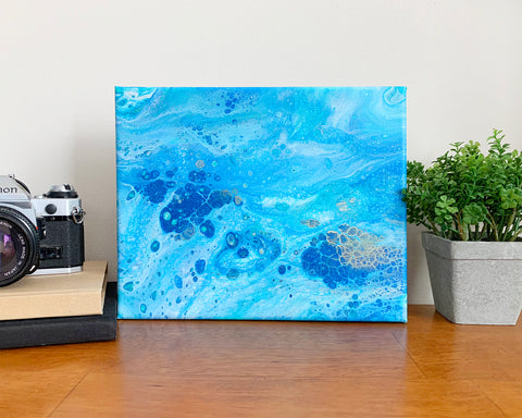 Original Acrylic Pour Painting- 8x10 Blue Ocean Waters - april bern photography