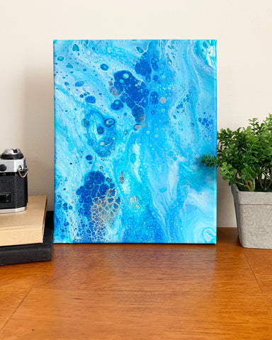 Original Acrylic Pour Painting- 8x10 Blue Ocean Waters - april bern art & photography