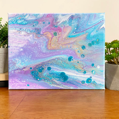 Original Abstract Pink And Purple Acrylic Pour - 8x10 Modern Art