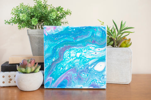 Colorful Milky Way Abstract Art - 6x6 Acrylic Painting - april bern art & photography