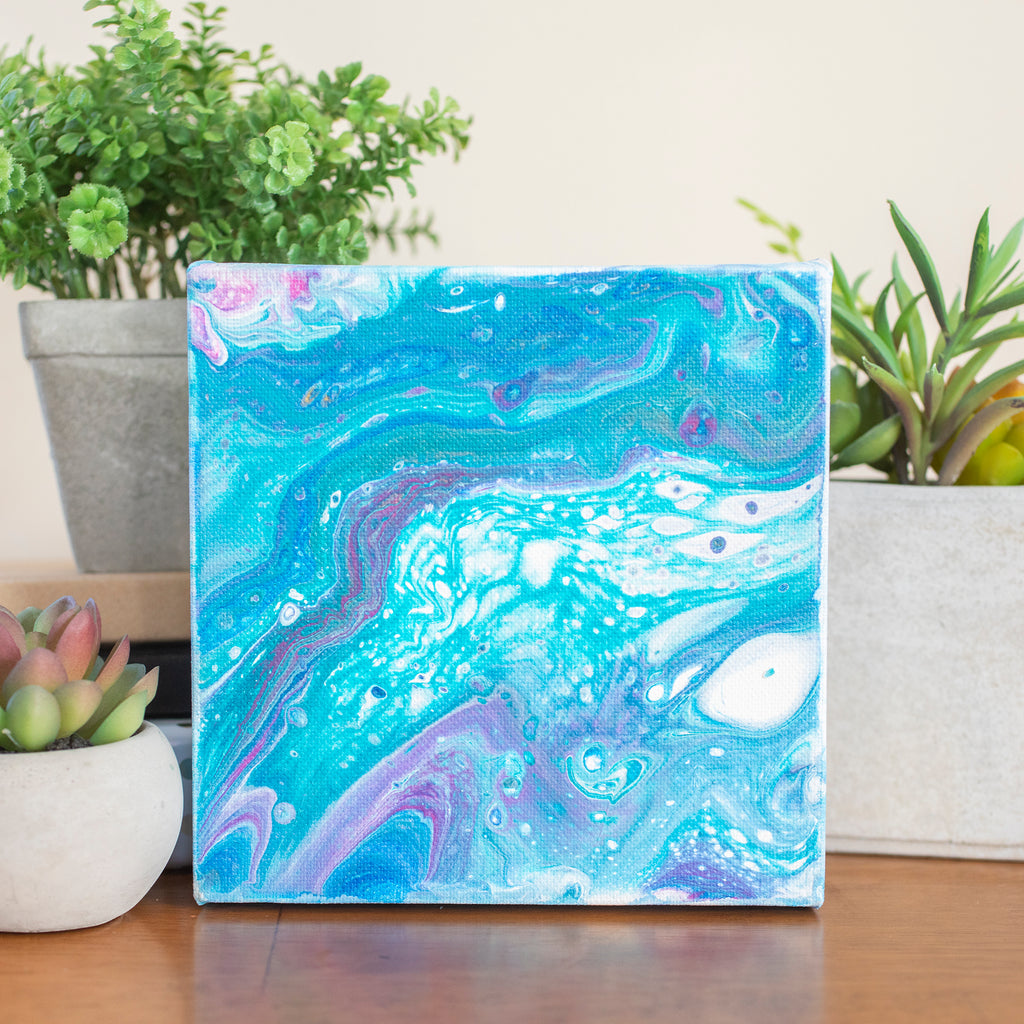 Colorful Milky Way Abstract Art - 6x6 Acrylic Painting - april bern photography