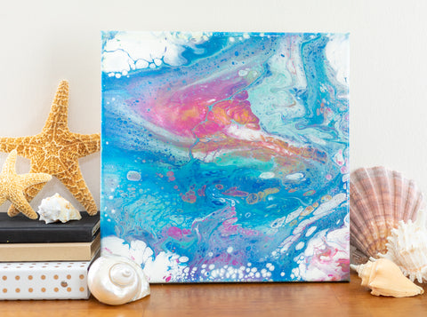 Tropical Island Abstract - 12x12 Acrylic Painting - april bern photography