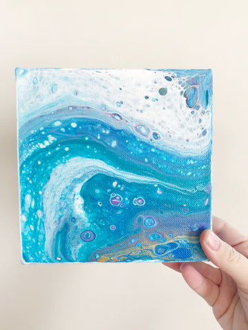 Ocean Waves Blue Abstract Art - 6x6 Acrylic Painting - april bern photography