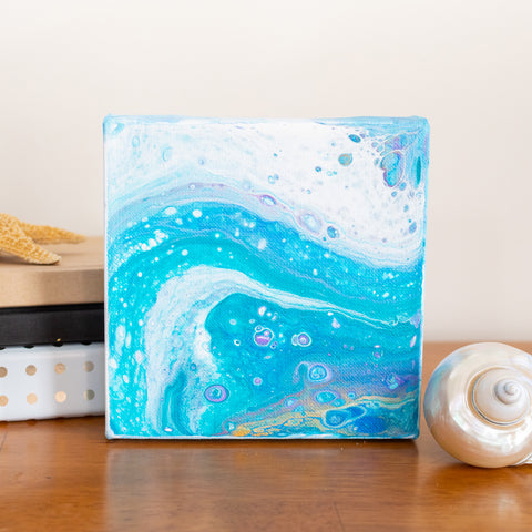 Ocean Waves Blue Abstract Art - 6x6 Acrylic Painting