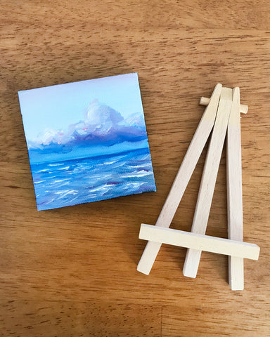 Stormy Ocean Small Seascape Original Oil Painting - 3x3 Tiny Art - april bern photography