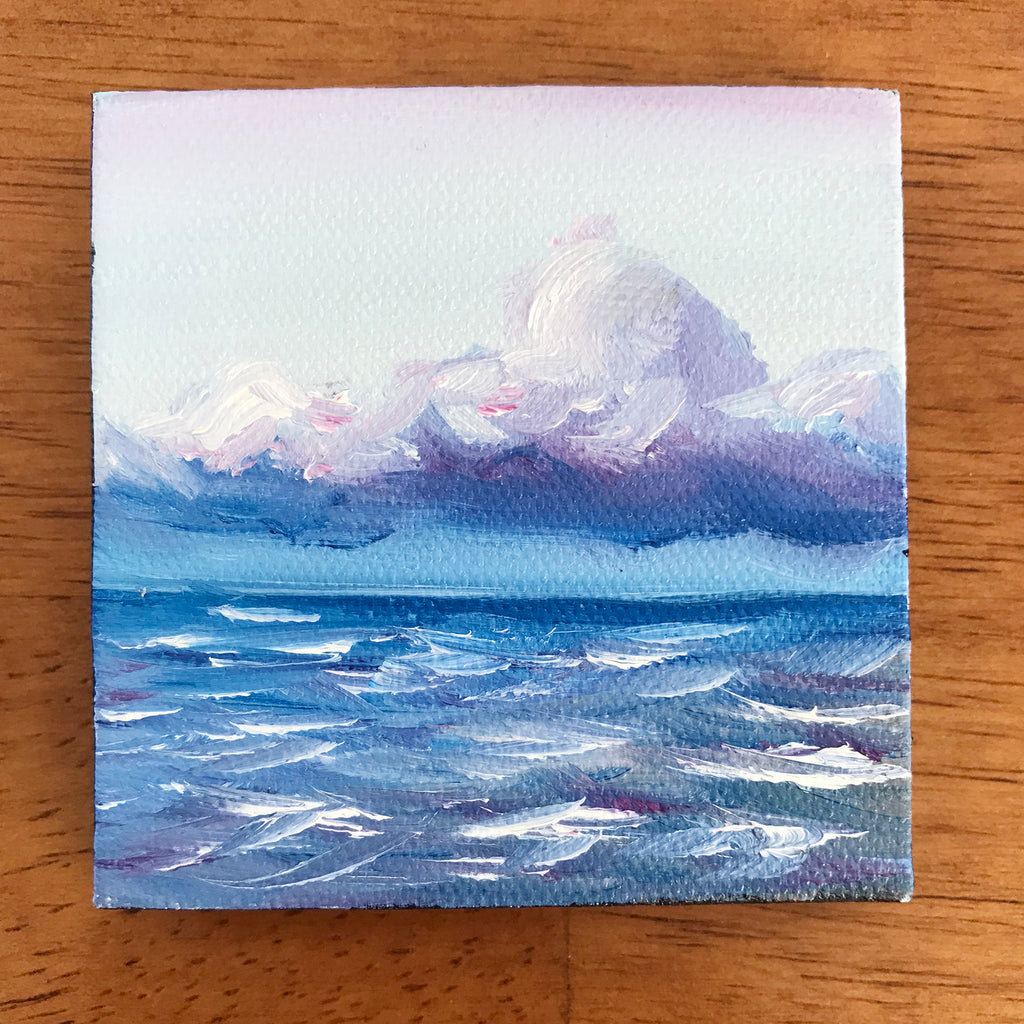 Stormy Ocean Small Seascape Original Oil Painting - 3x3 Tiny