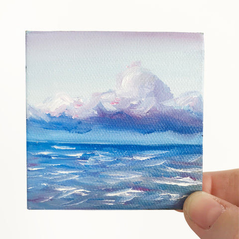 Stormy Ocean Small Seascape Original Oil Painting - 3x3 Tiny Art