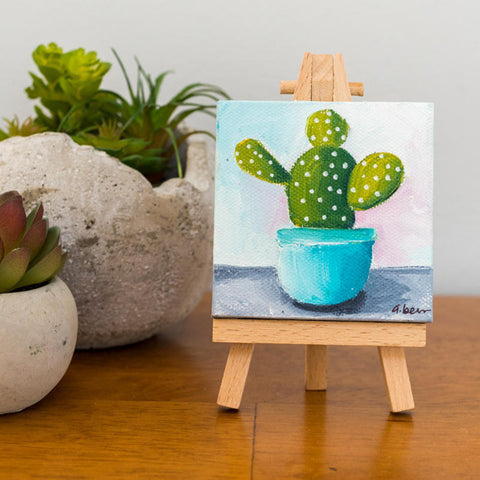 Tiny Cactus Painting - 3x3 Original Oil Painting