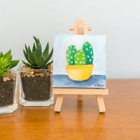Small Cactus Trio Painting - 3x3 Original Oil Painting