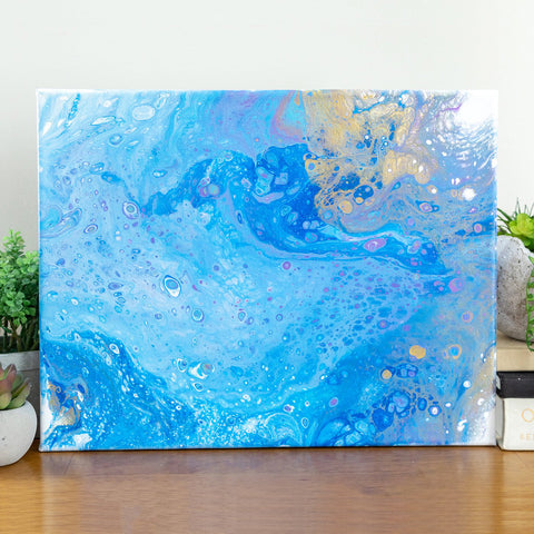 Blue Ocean and Sand Abstract Art - 11x14 Abstract Art