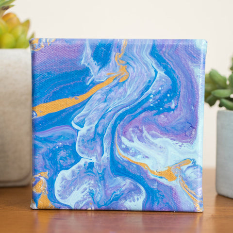 Blue and Purple Abstract Painting - 4x4 Abstract Art