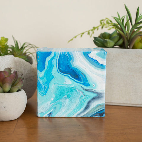 Mini Blue Agate Painting - 4x4 Abstract Art