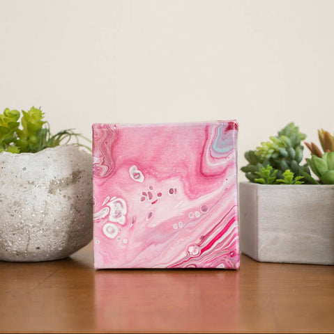 Small Pink Agate Painting - 4x4 Abstract Art