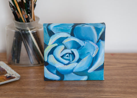 Succulent Painting - 6x6 Original Oil Painting - april bern photography