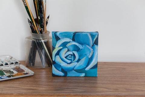 Succulent Painting, Original Oil Painting 6x6, Blue Painting, Succulent Art, Floral Art, Blue Home Decor, Small Painting, Gifts Under 50
