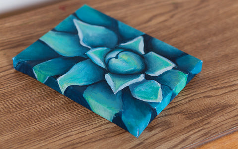 Blue Agave Oil Painting, Succulent Painting - april bern photography