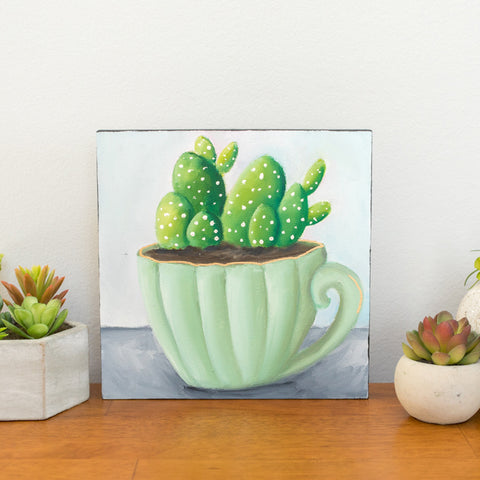 Succulent Original Painting - 8x8 Painting - april bern photography