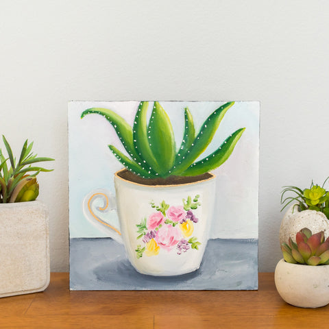 Succulent in Teacup Painting - 8x8 inch Original Oil Painting