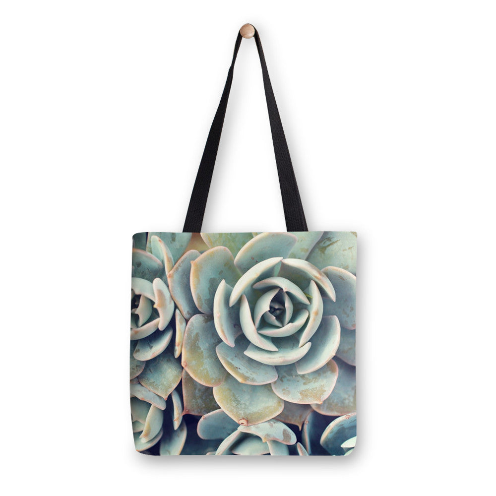 Ready to Ship - 16x16 Succulent Canvas Tote Bag - april bern photography