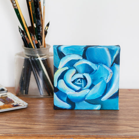 Succulent Painting, Original Oil Painting 6x6